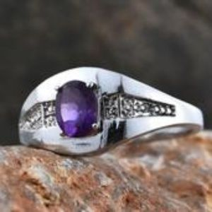 Other - Amethyst Stainless Steel Signet Ring